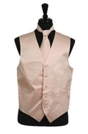 Dress Tuxedo Wedding Vest ~ Waistcoat ~ Waist coat Tie Set Beige