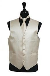 Rib Pattern Dress Tuxedo Wedding Vest Tie Set Beige