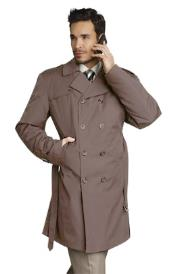 Mens Stylish Tan ~ Beige Rain Double Breasted Rain Coat ~ Trench