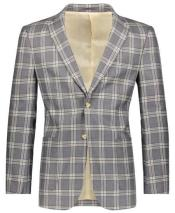 Beige/Gray Slim Fit Plaid ~ Windowpane ~ Checker Mens Blazer