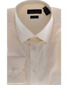 - Solid beige Mens Dress Shirt