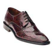 Genuine Skin Italian Nino Eel & Ostrich Dress Shoes Antique Red/Scarlet