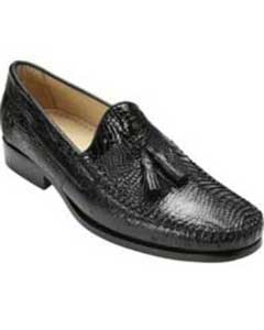 Belvedere Mens Black Genuine caiman ~ World Best Alligator ~ Gator Skin & Ostrich Slip On ~