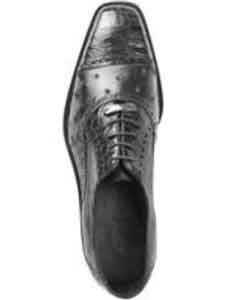 Belvedere Onesto II Ostrich/Crocodile Shoes Black