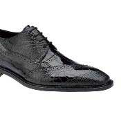 Belvedere Nino Eel & Ostrich Shoes Black