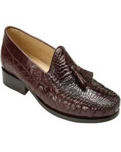 Mens Brown Genuine caiman ~ World Best Alligator ~ Gator Skin & Ostrich Slip On ~ Loafer
