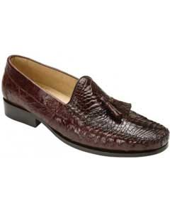 """Bari"" Brown Genuine Alligator Skin and Ostrich Skin loafer slip on Mens Shoes With Tassels"
