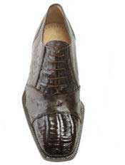Brown Dress Shoe Authentic Genuine Skin Italian Onesto Dark Brown
