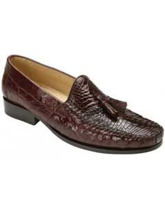 """Bari"" Brown Genuine Alligator Skin and Ostrich Skin loafer slip on Shoes With Tassels"