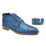Belvedere Napoli Crocodile & Lizard Boots Blue Jean