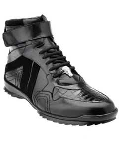 Soft Calfskin High Top Mens Black Sneakers ~ Belvedere Rino Crocodile