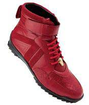 Velcro strap Cushioned Calfskin Belvedere Rino Crocodile Suede Mens Red Sneakers