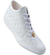 Mens Belvedere Alessio Quilted Calfskin & Crocodile High Top Sneakers White