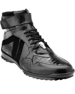Mens Belvedere Rino Crocodile Suede & Calfskin High Top Sneakers Black