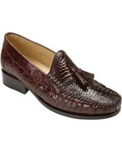 Bari World Best Alligator ~ Gator Skin Caimain & Ostrich Tassel Loafers Brown