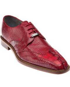 Mens Exotic Buckle LaceUp Red Belvedere Topo Hornback & Lizard skin