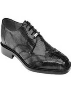 Mens Belvedere Mezlan Topo Hornback crocodile exotic skin alligator & Lizard Shoes Black