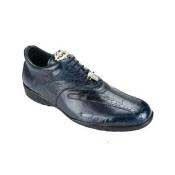 Authentic Genuine Skin Italian Bene Ostrich & Calfskin Dress Sneaker Navy