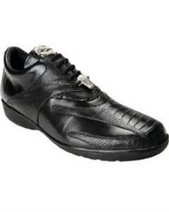 Genuine Skin Italian Bene Ostrich & Calfskin Dress Sneaker Black