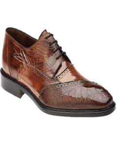 Mens Belvedere Nino Eel & Ostrich Shoes Antique Camel