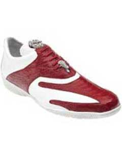 "Belvedere ""Bene"" Red White Genuine Ostrich And Soft Calf Leather Casual Sneakers"