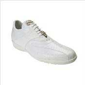 Authentic Genuine Skin Italian Mens Bene Dress Sneaker in White