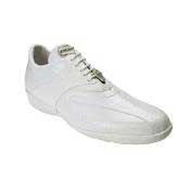Genuine Skin Italian Bene Ostrich &amp Calfskin Dress Sneaker White