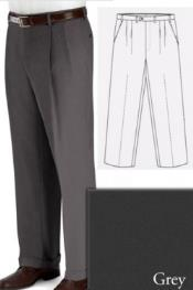 Grey Pic-Stitched Edges and Fly Big and Tall Dress Pants