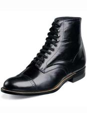 Adams Mens Classic Biscuit Toe 1920s Style Black Laceup Leather Sole