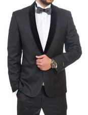 Black Single Breasted Slim Fit 1 Button Shawl Velvet Lapel Tuxedo Suit