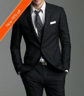 Italian Made 2-Button Fitted Suit Black  2 Piece Suits - Two piece Business suits Suit