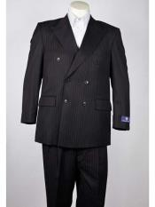 Fit Black 6 Button Mens Pinstripe Double Breasted Peak Lapel Suit