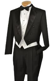 Black Full Dress TailCoat  Collar 6 Buttons Pleated Pants + White