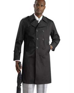Mens Dress Coat Stylish Black Long Style Rain double breasted Coat ~
