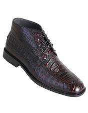 Altos Mens Black Cherry Genuine Caiman Crocodile Belly Stylish Dress Ankle