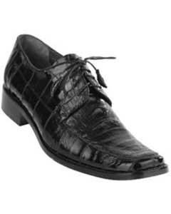 Exotic Black Caiman Belly Split Toe Derby Shoes