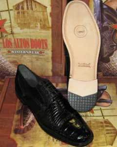 Mens Genuine Authentic Black caiman ~ World Best Alligator ~ Gator Skin Belly & Teju Lizard Dress