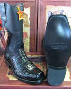 Western Alligator Skin Los Altos Black caiman cowboy boots (EE) ~ World Best Alligator