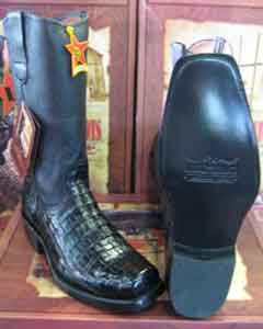 Los Altos Black caiman ~ World Best Alligator ~ Gator Skin Belly Western Cowboy Biker Motorcycle Boot
