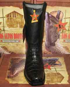 Los Altos Black caiman ~ World Best Alligator ~ Gator Skin Tail Western Cowboy Biker Motorcycle Boot
