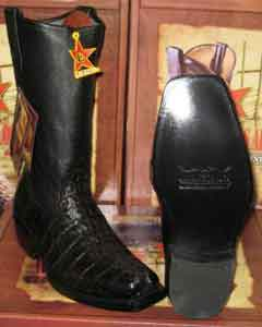 Altos Black caiman ~ World Best Alligator ~ Gator Skin Tail Western Cowboy Biker Motorcycle Boot