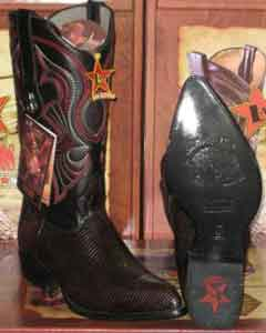 Cherry Cushioned smooth Hand-sewed crest design Los Altos Lizard Ring Western Cowboy Boot
