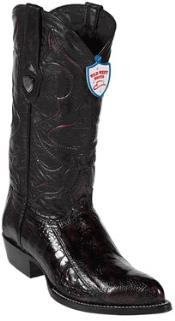 West Black Cherry Ostrich Leg Cowboy boots - Botas De Avestruz