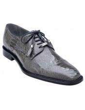 Belvedere Batta Black Gray Taupe Brandy All-Over Genuine Ostrich Lace-Up Shoes