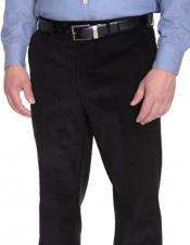 Regular Fit Black Corduroy Cotton Flat Front Formal Dressy Pant