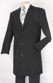Three Quarters Length Mens Dress Coat Black Fully Lined Mens Overcoat Wool
