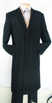 Dress Coat Black Fully Lined Wool Blend Top Coat Mens Overcoat