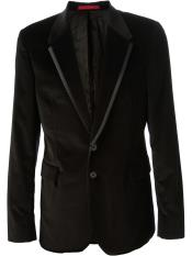 Mens Black Cotton Velvet Blazer