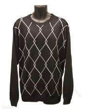 Mens Crew Neck Sweaters Black Available in Big And Tall Sizes