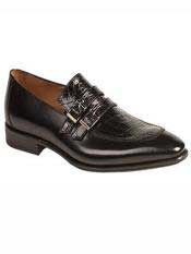 Brand Black Genuine Crocodile / Calfskin Double Monkstrap Loafer Shoes